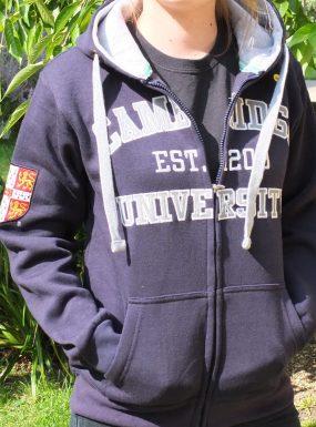 Applique Zip Hoody, Navy/Grey, XS – SALE