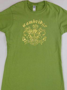 Ladies Foil Print Slim-fit T-shirt, Green S – SALE