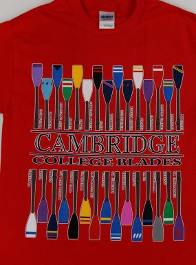 The College Oars Of Cambridge T-Shirt – Red – SALE