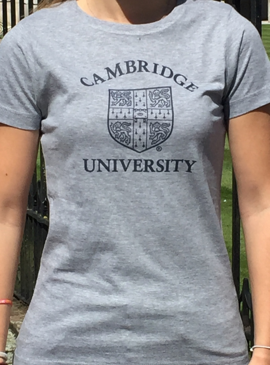 ladies university of cambridge print t shirt ryder amies