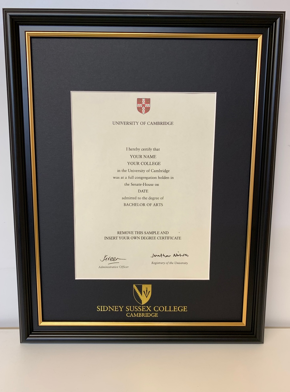 Sidney Sussex College Certificate Frame Ryder Amies
